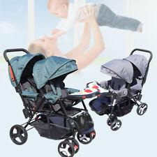 Zwillingskinderwagen Doppelter Kinderwagen Faltbarer Säuglingskinderwagen