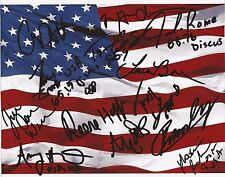 USA 2012 OLYMPIC TRACK & FIELD TEAM SIGNED 10x8 FLAG PHOTOx13+COA W/PROOF