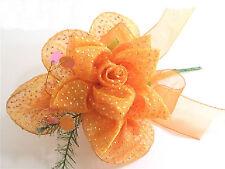 Bomboniera matrimonio fiore rosa organza col. arancio con petali portaconfetti