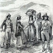 Antique woodcut print :Sicily Italy types costumes / stampa antica Sicilia 1873