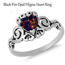Filigree Celtic Fire Opal Heart Cut Birthstone Sterling Silver Ring Size 4 - 12