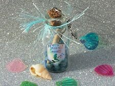 MERMAID SECRETS bottle, scroll & Mermaid Charm / Magic Wishes Glitter Bottle