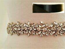 "Wedding Bridal Sash Belt, Light GOLD Crystal Sash Belt = 18"" = BLACK SATIN"