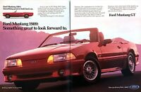 "1964 & 1989 Ford Mustang GT 5.0 Convertible photo ""The Ultimate"" 2-page print ad"