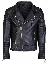 Men's Diamond Quilted Soft Sheepskin Leather Black Slim Fit Biker Jacket