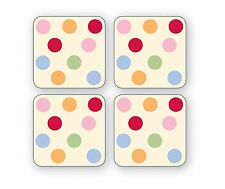 Cooksmart Spots Coasters Pack of 4 Drink Mats Vintage Retro Style New