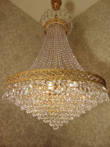 antik großer Kronleuchter Lüster Messing Bronze Gold Kristall Barock ca.1920
