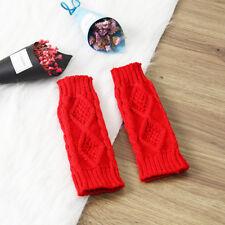 Womens Ladies Winter Knitted Long Fingerless Gloves Arm Sleeve Warm Soft Mitten