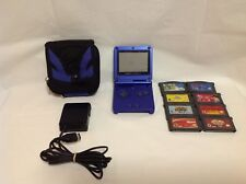 Blue Nintendo Gameboy Advance GBA SP AGS-001 Bundle - Games, Case, Charger - 1R