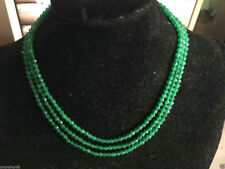 Beautiful 4mm Faceted 3 Rows Genuine Natural Green Emerald Beads Necklace