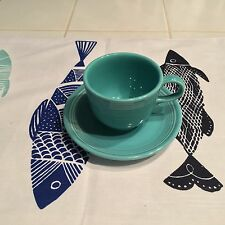 Fiestaware Tea Coffee Cups  Turquoise Apricot Six  Retired Colors