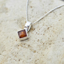 Natural Baltic Amber Pendant Classic Square Handmade Sterling Silver Brown