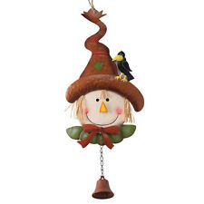 Scarecrow and Crow Friend Bell Embossed Metal Straw Hair Hanging Outdoor Holiday