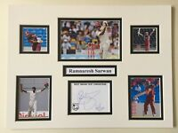 """West Indies Cricket Ramnaresh Sarwan Signed 16"""" X 12"""" Double Mounted Display"""