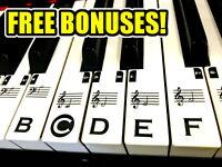 Music Keyboard Piano Stickers TRANSPARENT FULL SET 49/61/76/88 key +FREE BONUSES