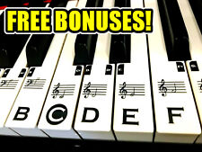 Music Keyboard Piano Stickers TRANSPARENT FULL SET 49/61/76/88 key +FREE BONUSES
