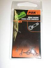 FOX Bordi KURO Micro Gancio Ring SWIVELS 10pk Carp Fishing Tackle