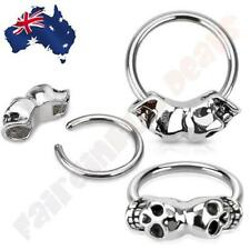 14G 316L Surgical Steel Twin Skulls Captive Bead Ring