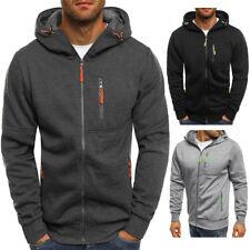 Men Plain Colour Zip Up Hoodie Hooded Jacket Fleece Sweatshirt Hoody Jumper Tops