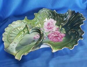 "Large Antique Carl Tielsch CT Germany Porcelain Serving Bowl 13""  green w/Roses"