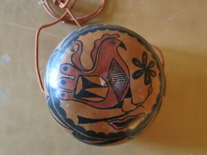 "Native American Zia Painted Gourd Canteen Robert Rivera Espanola, NM 6.5"" x 3.5"""