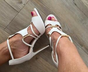 $90 GLAMOUR ivory WHITE STRAPPY gold ANKLESTRAP heel 7 wedding SHOE pump comfort
