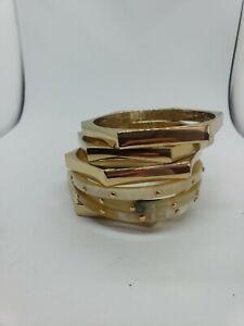 Anthropologie Gold Bangle Bracelet Stack