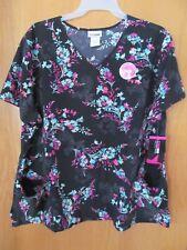 Black Floral~Women's Scrub Top/shirt~Women's Size 2Xl~New w/tags