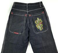 Vintage Jnco Wide Leg Skater Jeans Mens 33x30 Snake Baggy 90s Rave Black Wash