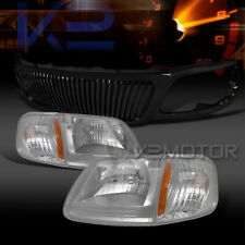 99-03 F150 Chrome Headlights Corner Lamps+Glossy Black Vertical Grille