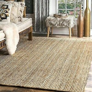 Hand Made Contemporary Modern Simple Braided Jute Area Rug in Natural Tan