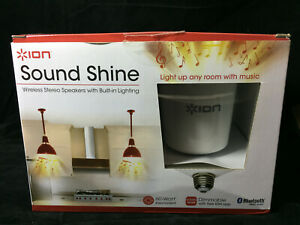 Ion Sound Shine Wireless Stereo Speakers With Built In Lighting 60wt  Bulbs