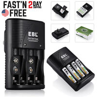EBL 9V Battery Charger for AA AAA 9Volt NiMH NiCd Rechargeable Batteries US Plug
