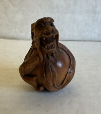 """More details for japanese netsuke """"coiled dragon"""" carved wood figure good luck, freedom, balance"""