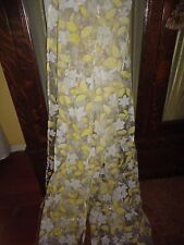 SEMI SHEER YELLOW & WHITE FLORAL SHIMMER LEAVES (PAIR) PANELS 36 X 76