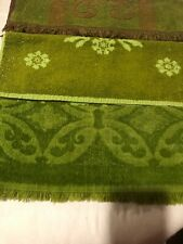 3 Vintage Green Brown Floral Scroll Retro Design Mod Terry HAND TOWELS Nice Cond
