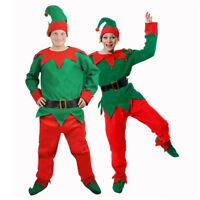 ADULTS ELF COSTUME CHRISTMAS FANCY DRESS UNISEX SANTA'S HELPER XMAS PIXIE SUIT