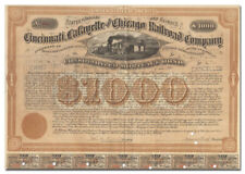 Cincinnati, Lafayette & Chicago Railroad Bond Certificate Signed by Adams Earl