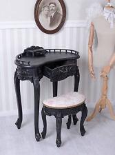 Coiffeuse noir BUREAU AVEC TABOURET CONSOLE DE TABLE Antique table latérale