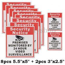 10pcs Security Notice CCTV 24 Hour Surveillance Video Vinyl Sign Sticker Decal
