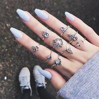 Ethnic Boho Retro Elephant Turquoise Moon Arrow Vintage Knuckle Mid Finger Rings