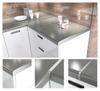 Aluminium Kitchen Worktop Joining Strips End Straight Corner Joint Silver 600 mm
