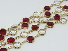 """Vintage Monet Bazel Set Red & Clear Crystal Gold Tone Necklace 34"""""""