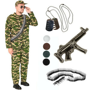 ARMY MAN FANCY DRESS OUTFIT MENS CAMO SOLDIER COSTUME ADULTS MILITARY UNIFORM