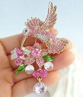"Pretty 3.54"" Pink Austrian Crystal Animal Hummingbird Brooch Pin Pendant 01775C8"