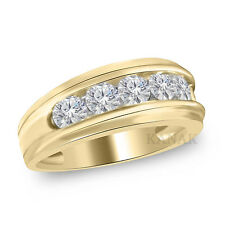 10K Solid Yellow Gold Mens Genuine Gold 9 MM Wedding Band Ring 1.0 Ct