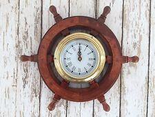 "12"" Ship Wheel Clock ~ Wood / Brass ~ Wooden Nautical Wall Decor"