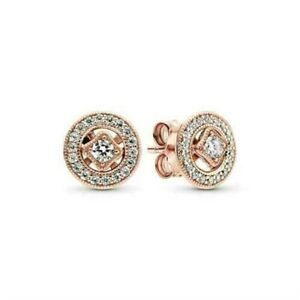 new Genius Pandora 14k Rose Gold Vintage Circle Stud Earrings 280721CZ
