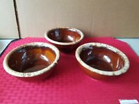 Vintage HULL USA 3pc Brown Drip Pottery Oven-Proof Cereal Berry Bowls 5""