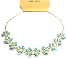 Monet Womens Goldtone Collar Necklace w/ Simulated Turquoise Cabochons | M130.2
